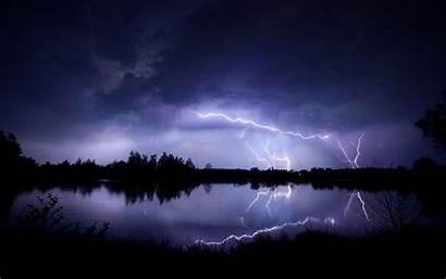 Lightning Wallpapers Storm Night Nature Striking Lakeside