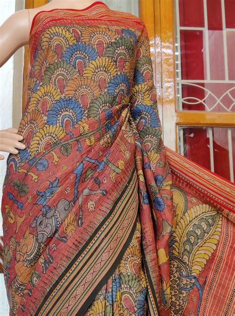 vidarbha tussar  beautiful  kalamkari work saree