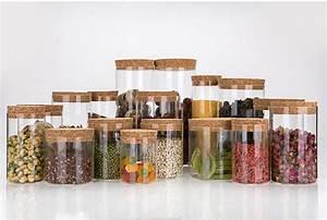 Boite Hermetique Verre : haute qualit herm tique conteneur de verre pot avec cork bois couvercle utiliser comme th caf ~ Teatrodelosmanantiales.com Idées de Décoration