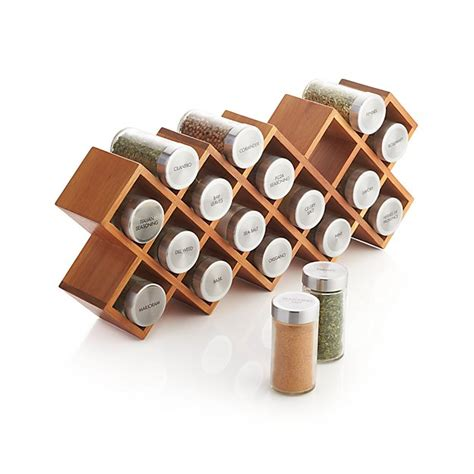 18 Jar Spice Rack 18 jar acacia wood spice rack crate and barrel