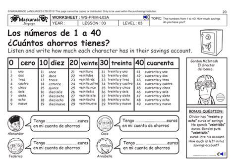 spanish ks2 level 3 ks3 year 7 numbers 0 40 my