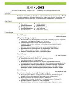 general manager cv exle for management livecareer