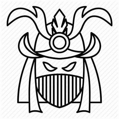Mask Outline Samurai Drawing Helmet Line Oni