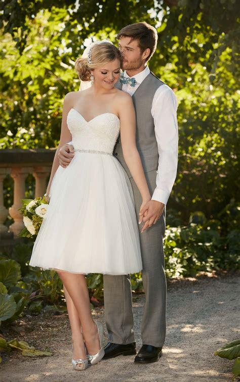 knee length tulle wedding gown  essense  australia