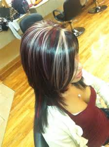 Purple and Brown Hair with Blonde Highlights