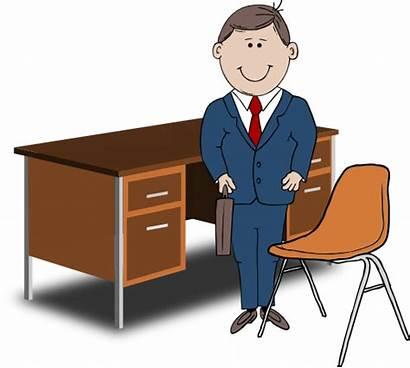 Manager Desk Teacher Chair Between Clipart صوره