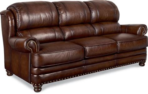 Lazboy Jamison Traditional Leather Sofa With Turned Arms