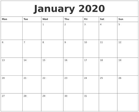 january blank calendar printable