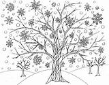 Coloring Tree Winter Printable Every Road Victory Least Able sketch template