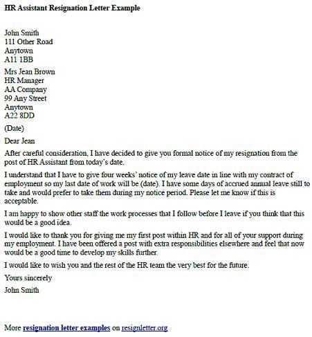 hr assistant resignation letter  resignletterorg