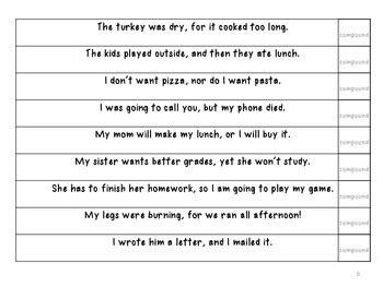 simple compound  complex sentence bingo