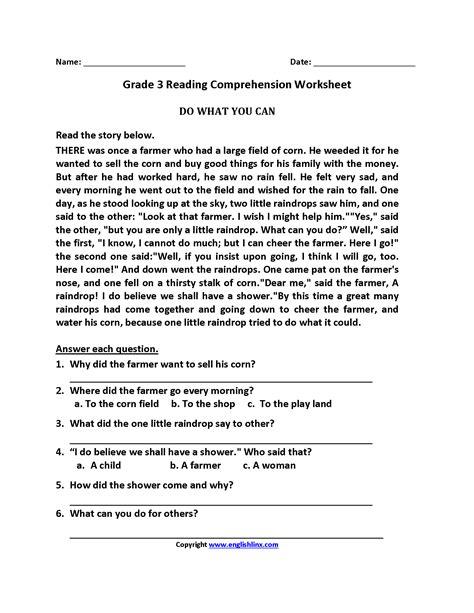 worksheet reading worksheets 3rd grade grass fedjp