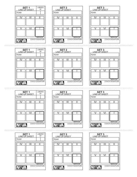 image result  blank volleyball lineup sheets printable