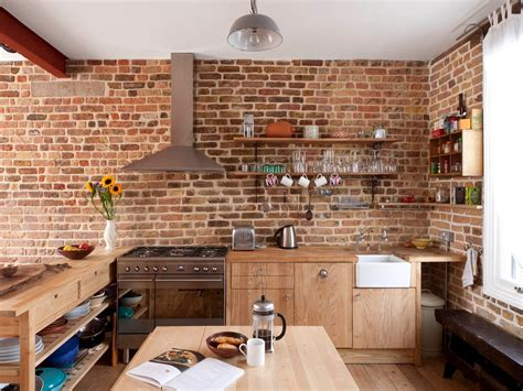 brick tiles for kitchen brick half wall kitchen industrial with open shelves 4895