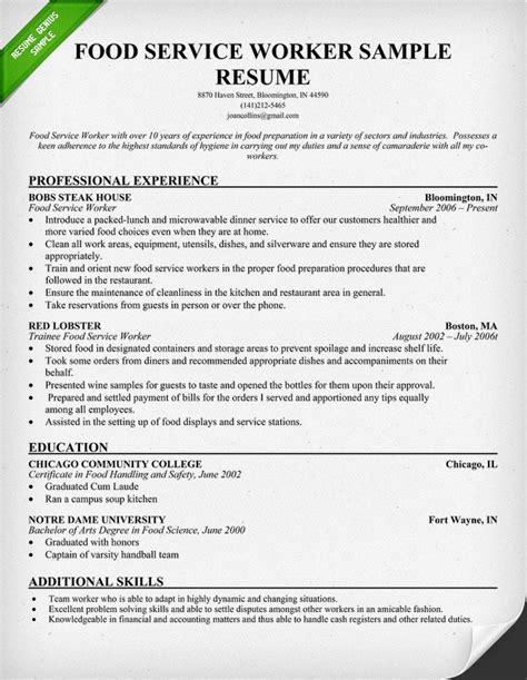 Food Service Resume Objective Statement by Food Service Industry Resume Sle Resume Genius