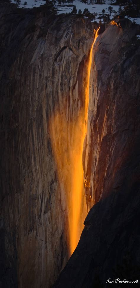 Horsetail Fall In Yosemite National Park In Mid February