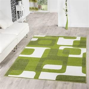 Wohnzimmer teppich modern grun grau weiss retro muster for Balkon teppich mit woods tapete