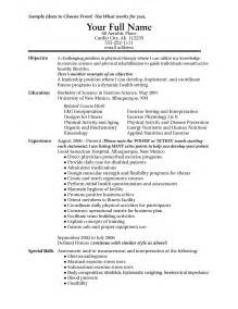 exercise science resume exles exercise science resume resume template 2017
