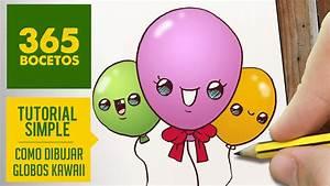 COMO DIBUJAR UNOS GLOBOS KAWAII PASO A PASO Dibujos kawaii faciles How to draw a balloons