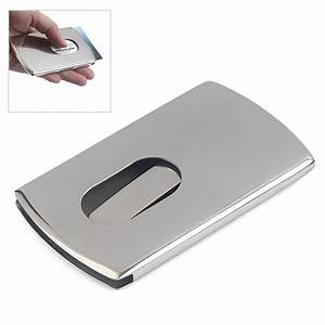Business Card Holder Women Vogue Thumb Slide Out Stainless ...