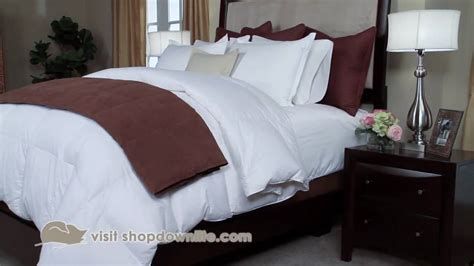 what to look for in a bed how to get the hotel bed look at home downlite youtube