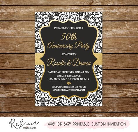 50 wedding anniversary invitation gold anniversary party