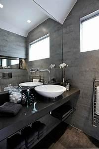 une salle de bains grise elegance et chic contemporain With salle de bain grise et noire