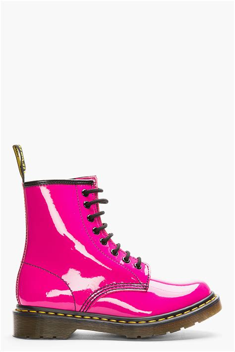 lyst dr martens hot pink patent leather cambridge brush   eye boots  pink