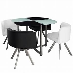 Table scandinave et chaises vintage 90 blanc et noir pas for Deco cuisine avec chaise design noir