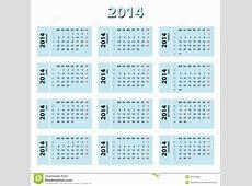 Calendario de 2014 azules ilustración del vector
