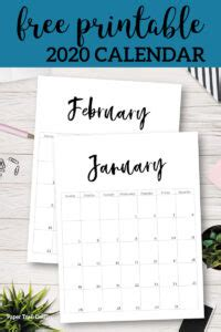 printable  calendar template pages paper trail