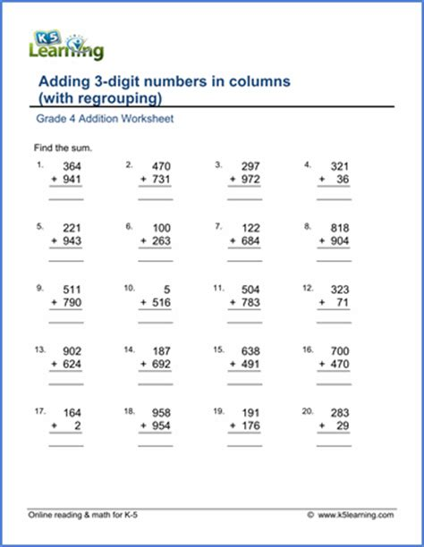 grade 4 math worksheet addition adding 3 digit numbers
