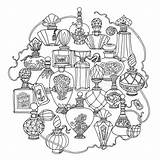 Perfume Bottles Coloring Vector Different Blaue Uncolored Drawing Shapes Ribbons Zen Illustrationen Fotolia Sheets sketch template