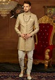 Embroidered Brocade Sherwani Set in Golden : MGV535