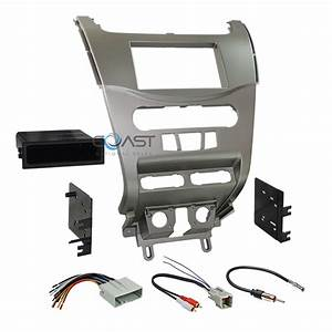 Car Radio Stereo Silver Dash Kit Panel Wire Harness For