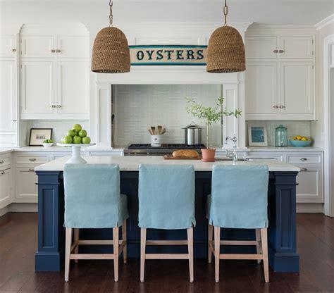 coastal white kitchen  navy blue island home bunch