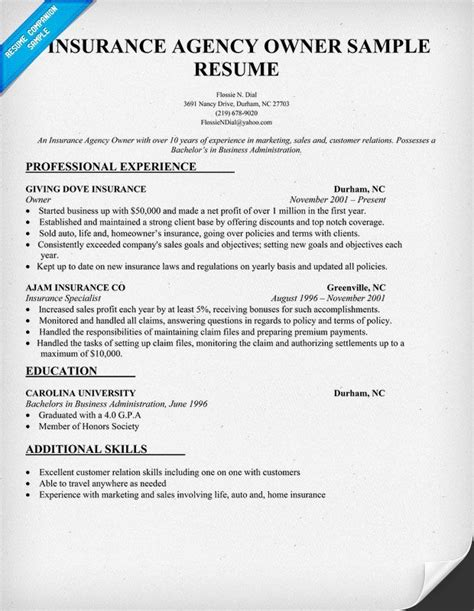 Insurance broker resume samples with headline, objective statement, description and skills examples. Insurance Agency Owner Resume Sample | Resume Samples Across All Industries | Pinterest ...