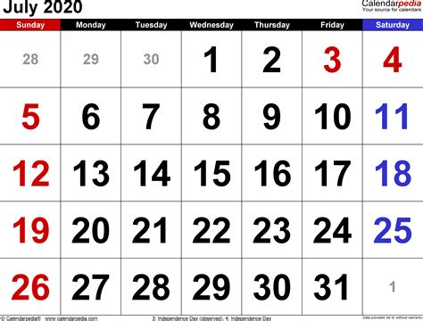 july calendars word excel