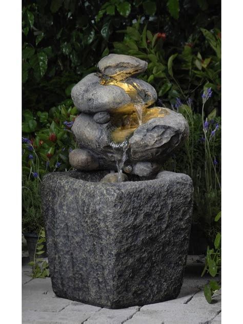 rock outdoor indoor water fountain with led light
