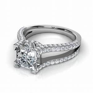 Princess cut split shank engagement ring in platinum for Platinum princess cut wedding rings