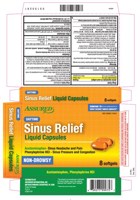 daytime sinus relief assured dollar tree greenbrier