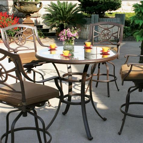 darlee ten 5 cast aluminum patio bar set with