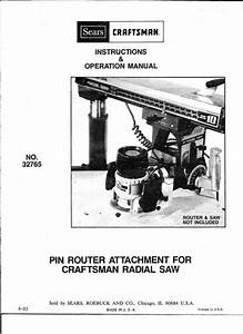 1983 Craftsman 32765 Pin Router Attachment For Radial Arm