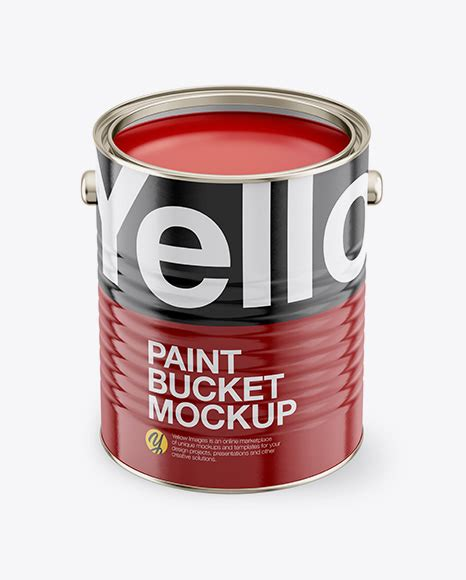 Download 86 royalty free paint bucket mockup vector images. Download Psd Mockup Bucket Front View Glossy Label High ...