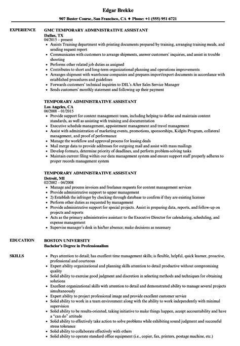 temporary administrative assistant resume sles velvet