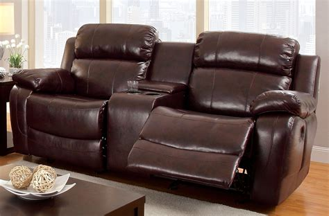 Brown Reclining Loveseat by Furniture Of America Brown Grantham Reclining Loveseat