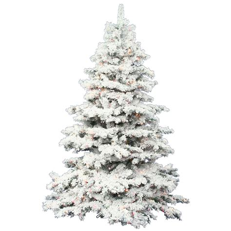 8ft Christmas Tree Artificial by 7 5 Foot Flocked Alaskan Christmas Tree Warm White Led