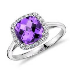 purple engagement ring amethyst and halo cushion ring in 14k white gold 0 17 ct tw wedding jewelry by