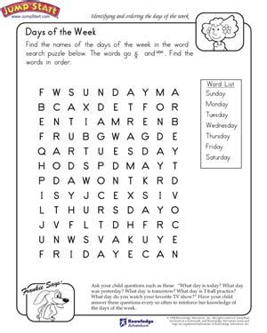 days of the week worksheets for