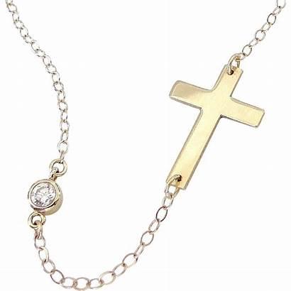 Cross Necklace Sideways Gold 14k Kelly Ripa